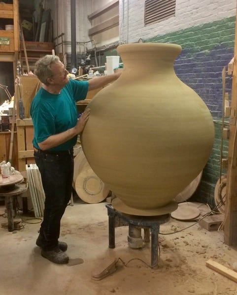 Stephen Procter working on one of his large clay vessels