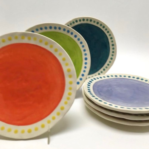 Erin Moran colorful handmade ceramic small plates