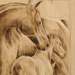Pyography – horse grouping close up