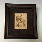Pyography - horse grouping in frame