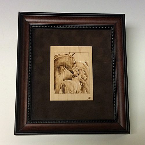 Pyography – horse grouping in frame