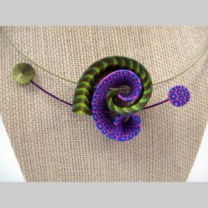 Samitz purple -green twist neck detail