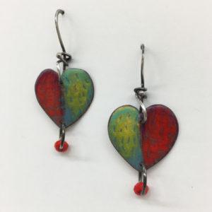 pollaro_ME85_red&green heart earrings